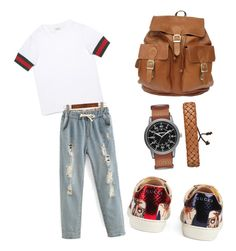 """boyish brown"" by ran616 on Polyvore featuring Gucci and Arizona"