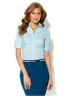 The Madison Pleated Button-Front Shirt - Solid from New York & Company - this whole outfit is adorable