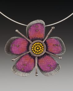 Handmade pink passion flower sterling silver and by tomlindesign, $150.00