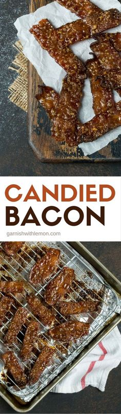 Everyone loves bacon and this Candied Bacon is NO exception. Sweet and spicy, this appetizer will disappear at your next party. #bacon #appetizers #partyfood #candiedbacon