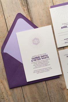 DARBIE Suite Romantic Package, purple, modern wedding invitation, starburst monogram, lavender