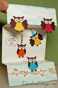 Split Owl Special Fold Card by darlenedesign - Cards and Paper Crafts at Splitcoaststampers Stampin Up Karten, Stampin Up Cards, Owl Punch Cards, Diy Owl Cards, 3d Templates, Tarjetas Pop Up, Birthday Design, Scrapbook Cards, Scrapbook Albums