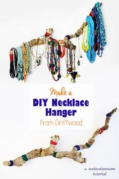 Create a DIY necklace hanger from driftwood or a giant cane root. No sewing or manual skills needed! A perfect way to organize your jewelry in a beautiful way! Care Skin Condition and Treatment Oil Makeup Diy Beauty Projects, Diy Craft Projects, Sewing Projects, Earring Display, Jewellery Display, Jewellery Making Courses, Jewelry Making, Diy Jewelry Tutorials, Jewelry Ideas
