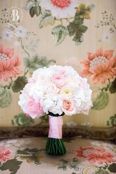 A bridal bouquet of hydrangeas, white and blush roses to fit the spectacular surroundings at The Ritz London