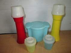 Vintage 1970's Set Tupperware Picnic Ketchup Mustard Salt and Pepper Blue Sugar Bowl Retro
