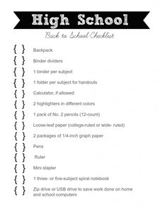 High school Checklist