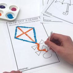 April Morning Work Stations. 43 Activities including these fine motor q-tip painting sheets.