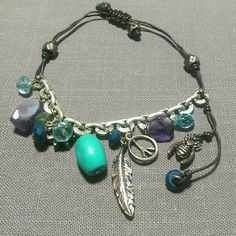 Boho cord & chain bracelet Minor wear, adjustable Fossil Jewelry Bracelets