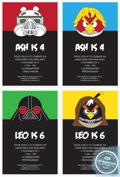 Angry Birds Star Wars Party Printables - Invitation Only - 4 designs by CreativeCurrentNZ on Etsy https://www.etsy.com/listing/168935925/angry-birds-star-wars-party-printables