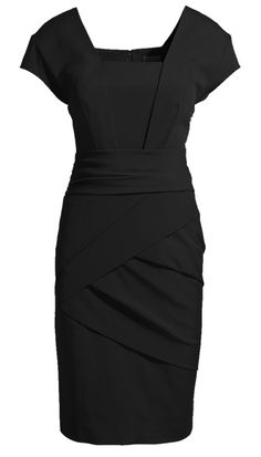 Black Short Sleeve Back Zipper Bodycon Dress