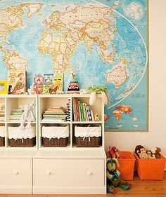 "map in the playroom & maybe ""oh the places you'll go"" quote by it"