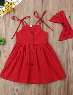 Baby girl active / basic solid color sleeveless above the knee Baby Mädchen aktiv / Basic einfarbig ärmellos über dem Knie Baumwollkleid rot … Baby girl active / basic solid color sleeveless above the knee cotton dress red …, - Baby Girl Frocks, Frocks For Girls, Kids Outfits Girls, Toddler Girl Dresses, Little Girl Dresses, Toddler Girls, Baby Girls, Dresses For Babies, Newborn Baby Girl Dresses