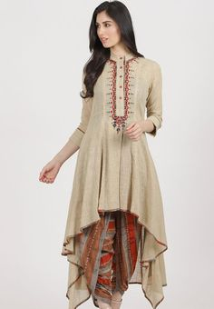 Beige-Rust Cotton Slub Kurta with Dhoti Pants (Set of Designer Party Wear Dresses, Kurti Designs Party Wear, Indian Designer Outfits, Sleeves Designs For Dresses, Dress Neck Designs, Blouse Designs, Stylish Dress Designs, Stylish Dresses, Casual Dresses