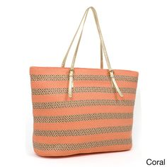 Magid, Striped Paper Straw Double Handle Tote Bag in Coral, $80