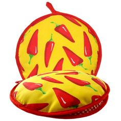 La Tortilla Oven Yellow with Red Chili Peppers Fabric Tortilla Warmer $10.95