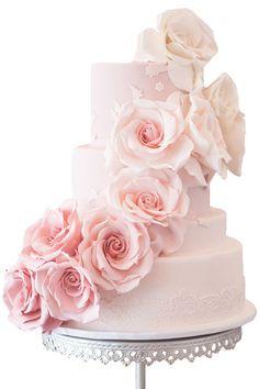 "Rose Wedding Cake With sugar lace ""hem"""