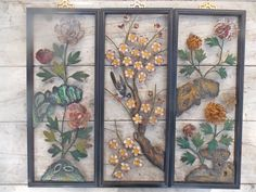 Vintage Metal Floral Wall Art Asian Decor by rosebudshome on Etsy