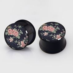 Floral  Plugs,Pairs Titanium Anodized Double Flare Ear Plugs Tunnels Earlets Gauges,Resin Tunnels by EarsPlugs on Etsy https://www.etsy.com/listing/189052679/floral-plugspairs-titanium-anodized