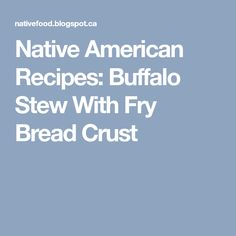 Native American Recipes: Buffalo Stew With Fry Bread Crust