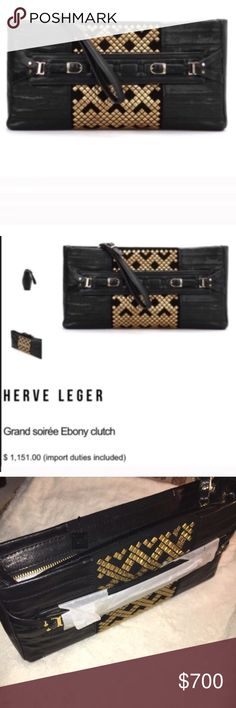 Herve Leger Grand Soirée Ebony Clutch Bag Herve Leger Grand Soirée Ebony Clutch Bag. NWT. Chic black leather clutch ideal for a grand soirée and detailed with a striped design, a gold-tone studs insert at centre creating geometrical shapes, front handle featuring double buckle and metal hardware, an adjustable leather wristlet with buckle & a top zip closure. Suede inner featuring metal logo plaque, an open pocket and zipped one. 100% Cow leather Lining: 100% Suede Dimensions (inches): 13 x…
