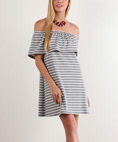 Gray & White Stripe Ruffle Off-Shoulder Dress #zulily #zulilyfinds