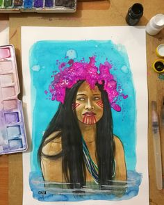 "48 Me gusta, 3 comentarios - Grillo Benitez Balcinha (@grillote69) en Instagram: ""#watercolorpainting #watercolor #acuarelas #paraguay #nativa #mujernativa #guaraní #arte #art"""