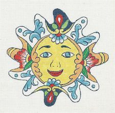 "Creative Needle ""Talavera Design"" Sun Face handpainted HP Needlepoint Canvas 18M"