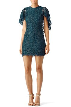 582aa08a083 Rent Teal Lace Cape Sheath by Dress The Population for  30 -  40 only at  Rent the Runway.