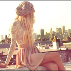 such a girly outfit. lace shirt, high waisted skirt and an adorable beanie. Yes please