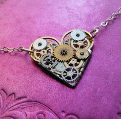 Clockwork Heart Necklace Petite Love Elegant by amechanicalmind, $50.00