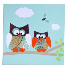 Blue Owl Canvas by With Hugs and Kisses