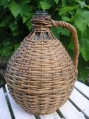 RARE FRENCH ANTIQUE PETITE DEMIJOHN WINE JAR / BOTTLE.