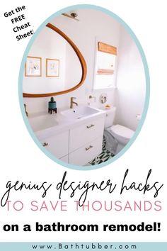 "Save thousands of dollars with these bathroom designer hacks. Get the ""8 Genius Designer Hacks"" Cheat Sheet now! Bathroom remodel on a budget. Bathroom remodel on a budget diy. Bathroom remodel on a budget small. Bathroom remodel on a budget master. Bathroom renovations on a budget. #Bathroomremodelonabudget #Bathroomremodelonabudgetdiy #Bathroomremodelonabudgetsmall #Bathroomremodelonabudgetmaster #Bathroomremonvationsonabudget Elegant Bathroom Decor, Spa Like Bathroom, Master Bathroom, Small Bathroom Ideas On A Budget, Budget Bathroom, Diy On A Budget, Bathtub Remodel, Diy Bathroom Remodel, Bathroom Renovations"