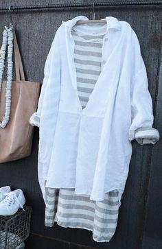 White Linen Tuxedo Shirt Women MegbyDesign