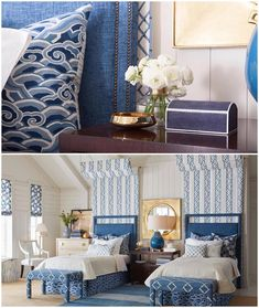 Fabric schemes and sweet dreams in this coastal retreat featuring fabrics from the Harmony Collection, my latest line of @kravetinc fabrics sold by the yard on my website! #SRxKravet www.sarahrichardsondesign.com