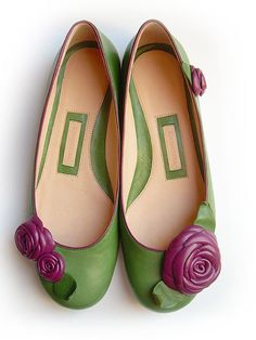 Gorgeous! Hand made & artist designed leather ballerina shoes by Kwandera on etsy. Love how the flowers are diff on each shoe!