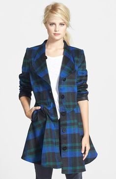 PRESS Plaid Peplum Coat available at #Nordstrom