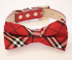 Plaid red and white wedding dog collar, Dog Bow tie with high quality Red leather, Chic and Elegent, Cute Dog Accessory