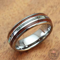 Tungsten Carbide Ring with Koa Wood & Abalone Shell by HappyLaulea Finger Art, Tungsten Carbide Wedding Bands, Jewelry Gifts, Unique Jewelry, Jewellery, Love Ring, Abalone Shell, Barrel, Wedding Rings