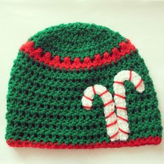 Christmas candy cane crochet hat