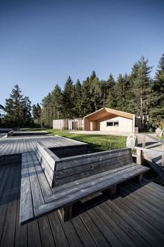 Network of Architecture designed the compact buildings so that they would be viewed from the path that surrounds the lake, but not dominate the surroundings. Cabana, Montana, Alpine Hotel, Haus Am See, South Tyrol, Roof Plan, Ground Floor Plan, Cool Cafe, Pine Forest