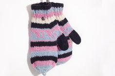 限量一件手織純羊毛針織手套 / 可拆卸手套 - 粉色東歐民族圖案