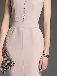 Shop Midi Dresses - Apricot Elegant Solid Sheath Crew Neck Midi Dress online. Discover unique designers fashion at StyleWe.com.