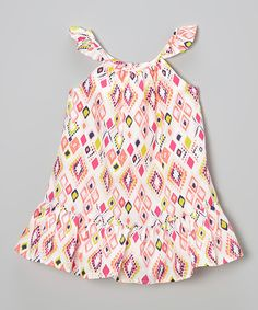 Another great find on #zulily! Neon Pink Diamond Ruffle Swing Dress - Toddler & Girls by Kids Headquarters #zulilyfinds