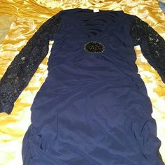 Venus Navy blue dress ruched spandex  new sale now Navy blue dress with lace sleeves n beading  detail in center Dresses Long Sleeve