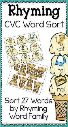 Rhyming CVC Words - Ice Cream Sort Students will love practicing reading and…