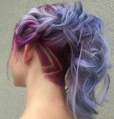 pastel purple ponytail with nape undercut