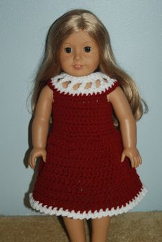 American Girl Doll Clothes: Beautiful Burgundy crochet dress for American Girl, Madame Alexander and most other 18 inch dolls