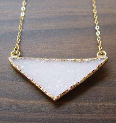Vanilla Druzy Triangle Necklace