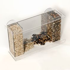Wild Bird Window Feeder - Clear Acrylic w/ Mirror Back - Attaches to Window w/ Suction Cups for Close-up Birdwatching, 2 Tubes for Different Seeds to Attract a Variety of Songbirds - Fun for Kids and Pets-Great for Homes,Offices,Apartments,Schools & Dorms